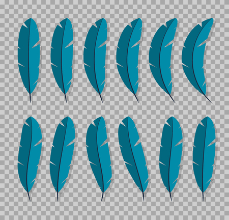 Feathers collection icon Flat characters in the style on a transparent background