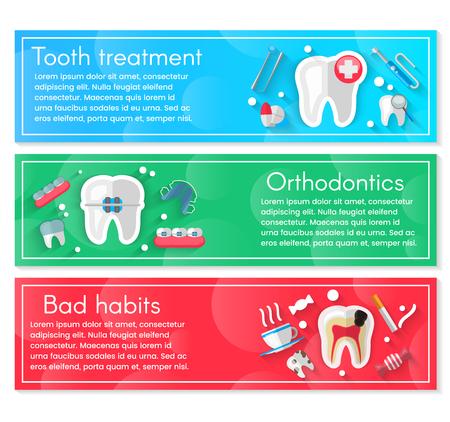 平らなアイコンが分離された歯科バナーの背景の概念。ベクターイラスト、歯科、歯列矯正。健康きれいな歯。歯科器械および装置。プロジェクト