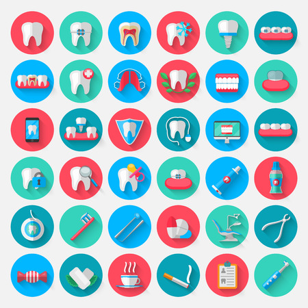 Dentistry icons isolated in a flat design style. Vector Illustration Symbols elements on the topic of stomatology and orthodontics, dental care, caries, prosthetics, transparent and metal braces Reklamní fotografie - 86815726