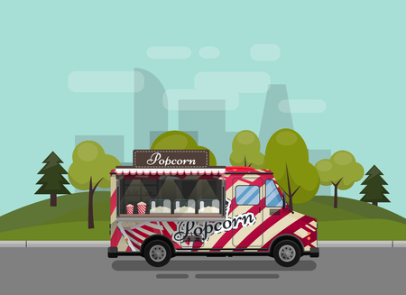 Popcorn cart, kiosk on wheels, retailers, sweets and confectionery products, and flat style isolated against the background of the city vector illustration. Snacks for your projects Illustration