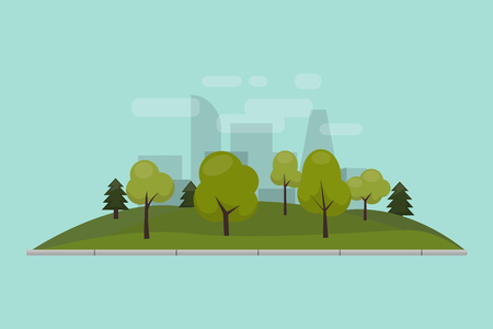 City park, lawn and trees. Vector illustration of an isolated flat style. Green park area in the city center. Against the background of the city with skyscrapers and large buildings Çizim