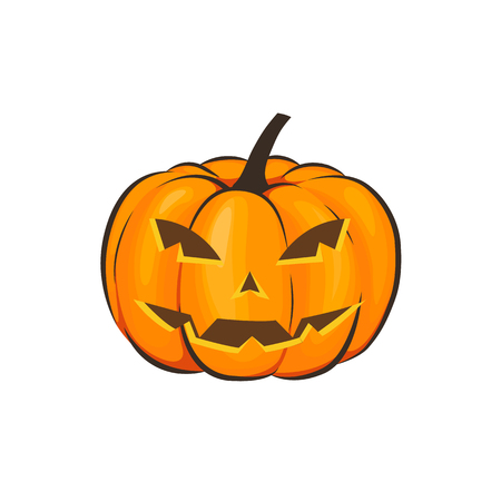 Halloween is isolated with a terrible pumpkin in a cartoon style on a white background. Vector Illustration on Halloween Celebration for your projects Фото со стока - 86815732