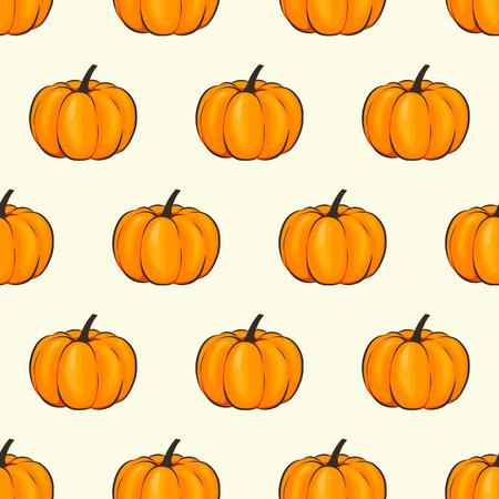 カボチャは、シームレスな壁紙パターン ラップ漫画スタイルを分離しました。秋とあなたのプロジェクトのための感謝祭のための祝典のベクトル図