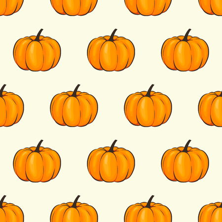 Pumpkin isolated seamless wallpaper pattern wrap cartoon style. Vector illustration on Autumn and Celebration for Thanksgiving for your projects Illustration