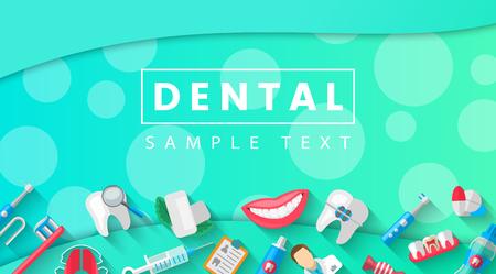 Tandbanner Achtergrondconcept met Vlakke Geïsoleerde Pictogrammen. Vectorillustratie, tandheelkunde, orthodontie. Gezonde schone tanden. Tandheelkundige instrumenten en apparatuur. Illustratie voor uw projecten.