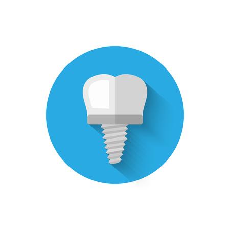 歯インプラントのアイコンは、フラットなデザイン スタイルのベクトル図に分離されます。スタイリッシュなカラーの口腔病学のテーマにモダンで  イラスト・ベクター素材