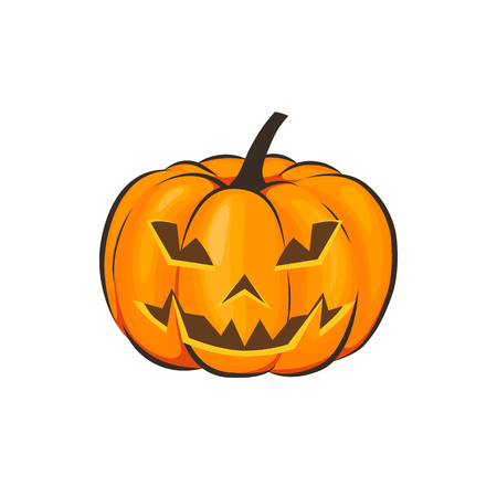 Halloween is isolated with a terrible pumpkin in a cartoon style on a white background. Vector Illustration on Halloween Celebration for your projects. Фото со стока - 86853210