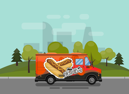 Hot dog cart, kiosk on wheels, retailers, fast snack breakfast, fast food and flat style, isolated against the background of the city vector illustrations. Symbol for your projects Illustration