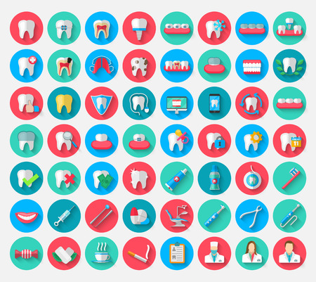 Dentistry icons isolated in a flat design style. Vector Illustration Symbols elements on the topic of stomatology and orthodontics, dental care, caries, prosthetics, transparent and metal braces