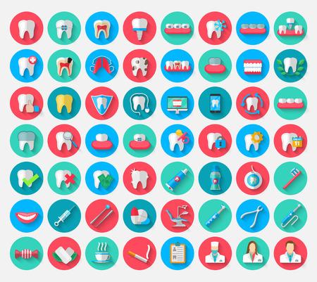 Tandheelkunde iconen geïsoleerd in een platte ontwerp stijl. Vectorillustratie Symbolen elementen over het onderwerp stomatologie en orthodontie, tandheelkundige zorg, cariës, prothese, transparante en metalen beugels Vector Illustratie