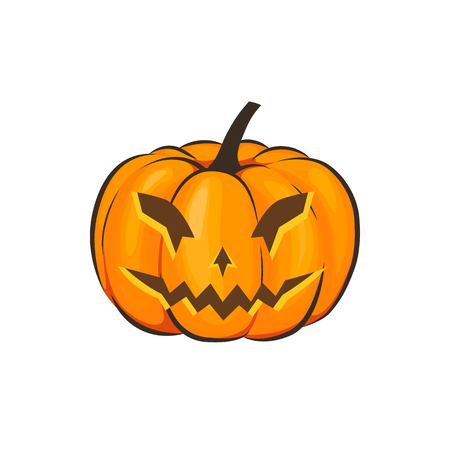 Halloween is isolated with a terrible pumpkin in a cartoon style on a white background. Vector Illustration on Halloween Celebration for your projects Фото со стока - 87018939