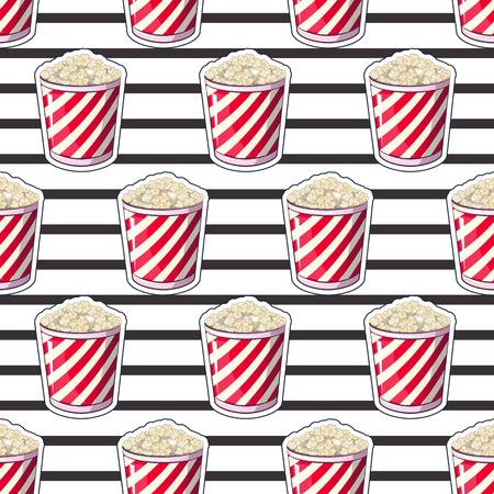 ポップコーンは、あなたの農産物は、映画を見る時の前菜バケツのストリップ ラッパー ボックスで分離されます。パターン、背景ミニチュア ファ