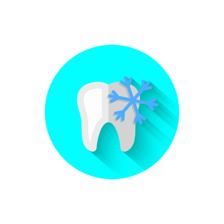 Dental icon, illustrated in flat design style vector illustration. Modern icon on the theme of stomatology in stylish colors. Website and design for mobile applications and other your projects Çizim