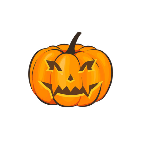 Halloween is isolated with a terrible pumpkin in a cartoon style on a white background. Vector Illustration on Halloween Celebration for your projects