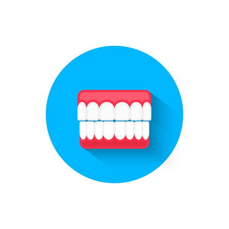 Dental prosthesis icon, illustrated in a flat design style vector illustration. Modern, minimalist icon on the topic of stomatology. Website and design for mobile applications and other your projects