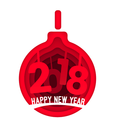 Paper art design carving style design concept Christmas ball with figures 2018 years for Christmas Postcard, festive greetings card, poster brochure. Happy New Year. Vector Illustration Isolated.
