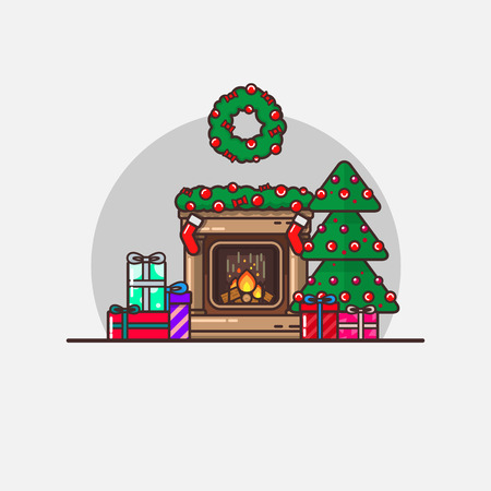 New Years Christmas Vector Illustration Isolated In Flat Linear Style. Christmas atmosphere, Christmas tree with beauty at the fireplace with gifts, socks for gifts. Suitable for brochures greetings