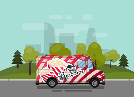 Popcorn cart, kiosk on wheels, retailers, sweets and confectionery products, and flat style isolated against the background of the city vector illustration. Snacks for your projects Stock Illustratie