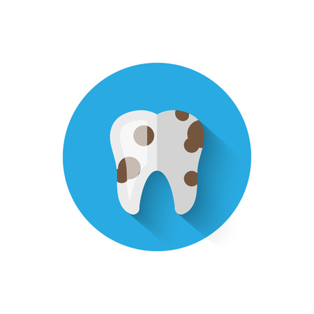 Tooth decay, caries illustrated in a flat style design of vector illustration. Minimalist icon on the topic of stomatology. Website and design for mobile applications and other your projects