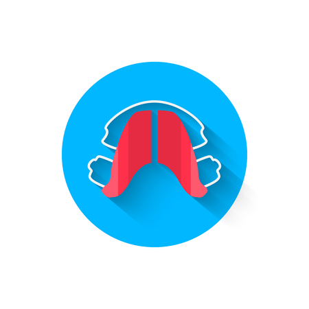 Dental plates, tooth alignment are illustrated in a flat style design of vector illustration. Modern icon on the topic of stomatology and orthodontics. Website and other your projects Ilustrace