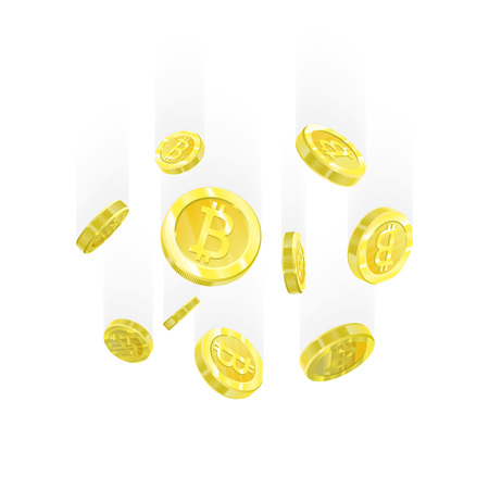 Bitcoin Vector illustration of a realistic pattern background 3d golden coins isolated with bitcoin sign. Crypt currency of the future, mining, electronic payments. Blockchain