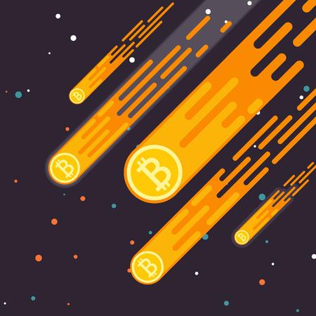 Bitcoin Crypto 통화 증가는 디지털 통화의 하락입니다. Bitcoin 개념을 평면 스타일로 들어 올립니다. 비트 코인 수입은 광업입니다. 벡터 일러스트 레이 션