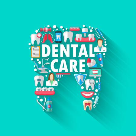 分離されたフラット アイコンで歯科バナー背景コンセプト。ベクトル図では、歯科、矯正歯科。健康的なきれいな歯。歯科用器具および装置。あな