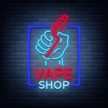 Vape shop neon icon, logo isolated Vector illustration. Neon sign, a night glowing banner selling electronic cigarettes