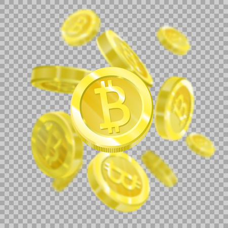Bitcoins on a transparent background isolated, since the bitcoins are falling from the sky. Crypt currency of the future, mining, electronic payments.