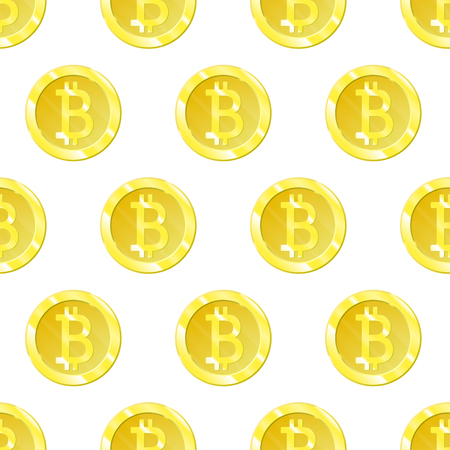 Bitcoin Vector is an isolated simple seamless pattern. Bitkoins icon symbol on a white background. Web business wallpapers for your projects Ilustrace