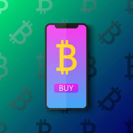 Bitcoin digital wallet flat icon design symbol isolated vector illustration. Crypto currency. Smartphone with a sign bitcoin