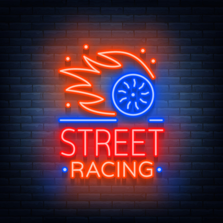 Street racing logo emblem template vector logo in neon style. A glowing sign on the theme of the races. Neon sign, light banner