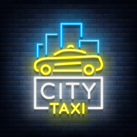 City taxi neon logos concept template. Luminous signboard on the theme of transportation of passengers. Neon signs, light night banner. Vector illustration Ilustração