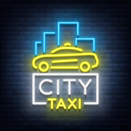 Stad taxi neon logo's concept sjabloon. Lichtgevend bord op het thema van het vervoer van passagiers. Neonreclames, lichte nachtbanner. Vector illustratie Stock Illustratie