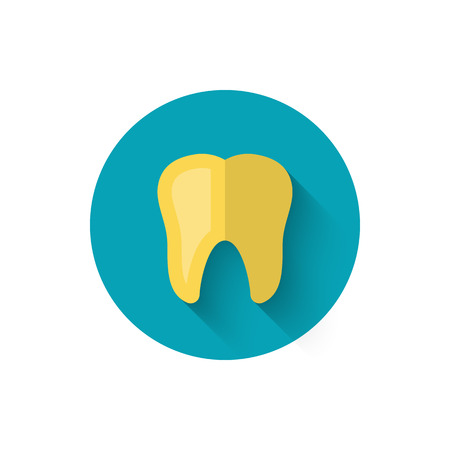 Golden tooth icon, illustrated in a flat style design of vector illustration. Modern icon on dentistry in stylish colors. Website and design for mobile applications and other your projects. 版權商用圖片 - 88178364