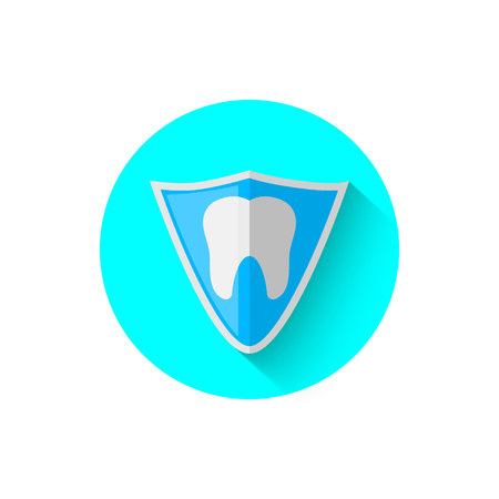 Tooth shield protection icon, illustrated in the flat design style of vector illustration. Modern icon stomatology in stylish tones. Website and design for mobile applications and other your projects Illustration