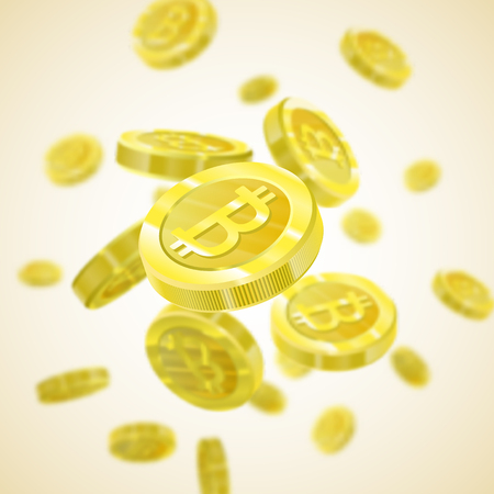 Bitcoin Vector illustration of a realistic pattern background 3d golden coins isolated with bitcoin sign. Crypt currency of the future, mining, electronic payments. Blockchain.