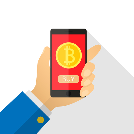 Concept of paying bitcoins in a flat style. Pay per click on virtual crypto currency. Hand smartphone with gold coin, purse. Vector illustration of cartoon for business, web banners, website design. Illustration