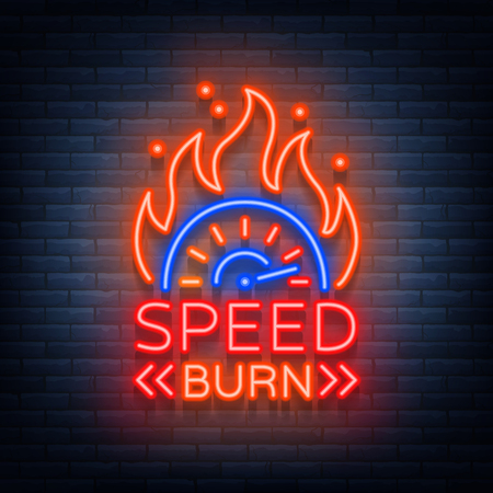 速度は、ネオンのスタイルでロゴ エンブレム テンプレート ベクトルのロゴを焼きます。レースをテーマに光るサイン。ネオンサイン、光のバナー  イラスト・ベクター素材