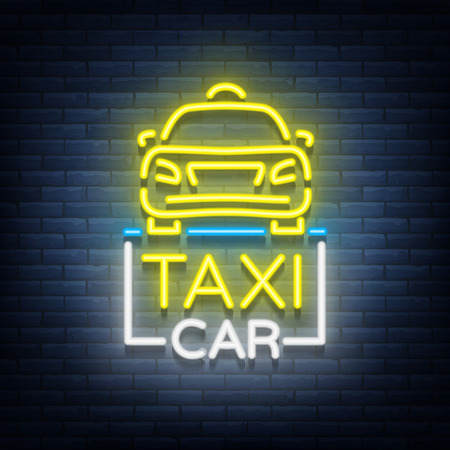 Taxi car design neon glowing logos concept template. Luminous signboard on the theme of transportation of passengers. Neon signs, light night banner. Vector illustration.