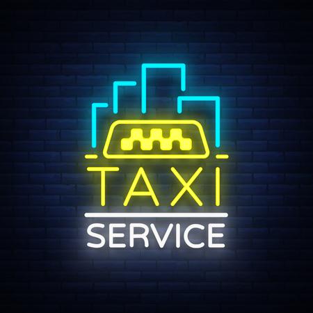 Vector Neon Taxi logo aislado en un fondo de ladrillo. Insignia silueta brillante taxi. Diseño de publicidad signo de la noche de la marca de taxi. Foto de archivo - 88223830