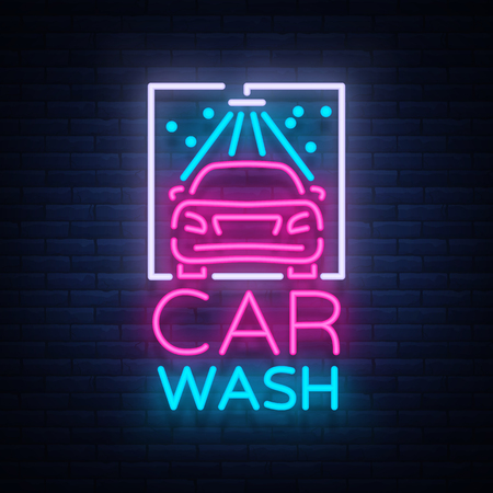 Car wash logo design emblem in neon style vector illustration. Template, concept, luminous sign on the theme of washing cars.