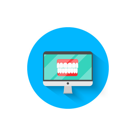 Dental icons on the computer monitor, illustrated in a flat design style vector illustration. Modern dentistry, dental prosthetics, icon on the topic of stomatology for your projects