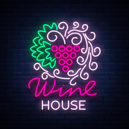 Het ornamentornament van het wijnhuispatroon met in een trendy neonstijl. Logo, badge gloeiende banner. Voor het menu, bar, restaurant, wijnkaart, wijnhuis, wijnetiket, wijngaard, wijnmakerij. Vector illustratie.