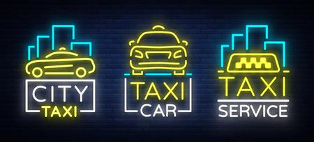 Van het het ontwerpneon van de taxiauto gloeiende emblemen geplaatst conceptenmalplaatje. Lichtgevend bord op het thema van het vervoer van passagiers. Neonreclames, lichte nachtbanner. Vector illustratie