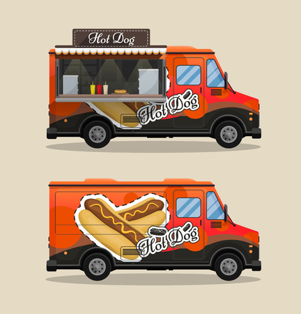 Hot dog cart, kiosk on wheels, retailers, fast snack breakfast, fast food and flat style, isolated vector illustrations. Symbol for your projects