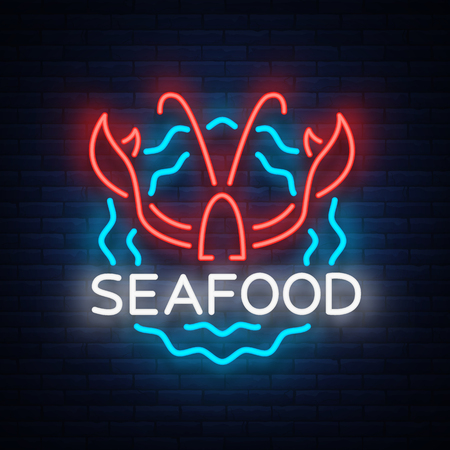 Seafood neon logo icon vector illustration. Lobster emblem, neon advertisement, night sign for the restaurant, cafe, bar with seafood. Glowing banner, a template for your projects. Ilustração