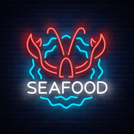 Zeevruchten neon logo pictogram vectorillustratie. Kreeftembleem, neonreclame, nachtbord voor het restaurant, café, bar met zeevruchten. Gloeiende banner, een sjabloon voor uw projecten. Stock Illustratie
