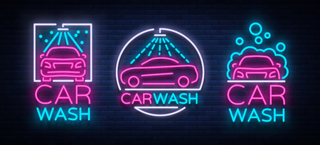 Car wash logo set vector design in neon style vector illustration isolated. Template, concept, luminous signboard icon on a car wash theme. Luminous banner.