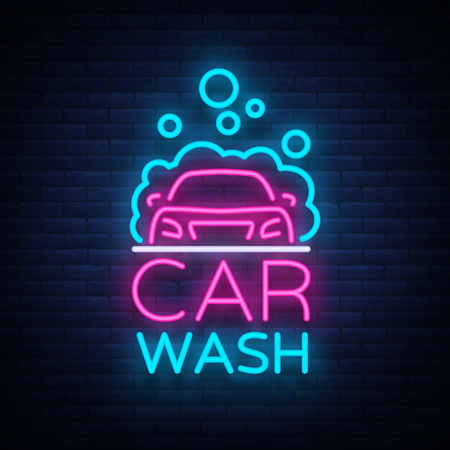 Car wash logo vector design in neon style vector illustration isolated. Template, concept, luminous signboard icon on a car wash theme. Luminous banner.